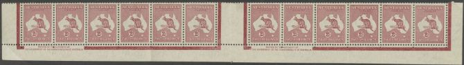 SG 212 ACSC 41zd. Kangaroo 2/- Maroon re-engraved imprint strip of 12 (AKS/12)